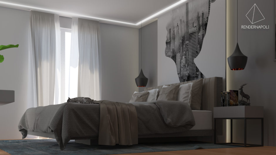 Render Camera da letto moderna by RendernapoliRender Napoli ...